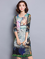 Women's Plus Size Vintage A Line Dress,Print Round Neck Above Knee ¾ Sleeve Green Silk Spring