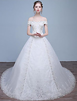 A-line Wedding Dress Chapel Train Off-the-shoulder Lace / Tulle with Lace / Sequin