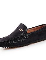 Heren Platte schoenen Lente / Herfst Comfortabel Leer Informeel Platte hak Ruches / Instappers Zwart / Blauw / Bruin / Bordeaux Wandelen