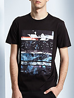 Men's Print Casual T-ShirtRayon Short Sleeve-Black