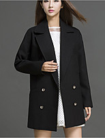 Women's Casual/Daily Simple Trench Coat,Solid Notch Lapel Long Sleeve Fall / Winter Black Spandex Medium