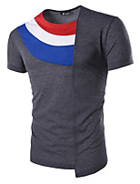 Men's Solid Casual T-Shirt,Cotton Short Sleeve-Black / White / Gray