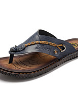Men's Slippers & Flip-Flops Toe Ring Leatherette Spring Summer Casual Flat Heel Blue Brown Flat