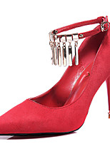 Mujer-Tacón Stiletto-Tacones-Tacones-Boda / Casual / Fiesta y Noche-Piel-Negro / Rojo