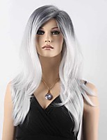Fashionable Sweet Gloden Medium Long Length Ombre Black Grey Wavy Synthetic Hair Wig