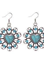 Vintage Brand Design Turquoise Earrings Crystal Rhinestone Bohemia Style Heart Earrings Jewelry For Woman