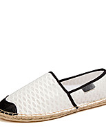 Mujer-Tacón Plano-Punta Redonda / Bailarinas-Zapatos de taco bajo y Slip-Ons-Casual-Tul-Negro / Blanco
