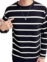 Gestreept-Informeel-Heren-Katoen / Polyester-T-shirt-Lange mouw Zwart / Wit / Grijs