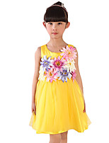 Girl's Casual/Daily Solid DressPolyester Summer Red / Yellow