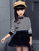 Girl's Going out Striped Dress,Cotton / Others Spring / Fall Black / Red