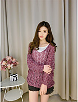Women's Casual/Daily Vintage Regular Pullover,Jacquard Red / Gray V Neck Long Sleeve Cotton Spring Thin