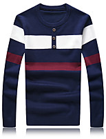 Men's Fashion Striped Round Collar Buttons Casual Slim Fit Pullover Knitted Sweater;Casual/Plus Size
