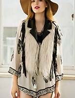 Women's Casual/Daily Street chic Fur Coat,Solid Round Neck Sleeveless Fall / Winter  Faux Fur Vest