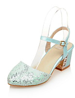 Women's Heels Summer / Fall Comfort / Round Toe Synthetic Office & Career / Casual Chunky Heel Buckle Blue / Pink / White
