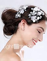 Dame Akryl / Plastikk Headpiece-Bryllup / Spesiell Leilighet Blomster 2 deler Sølv Pære 0