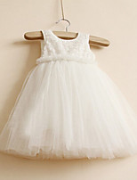 Girl's Casual/Daily Solid Dress,Polyester Summer Pink / White