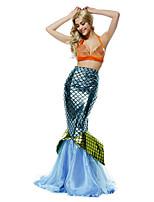 Costumes de Cosplay / Costume de Soirée Sirène Fête / Célébration Déguisement Halloween Vert / Orange / Bleu Vintage Haut / Queue