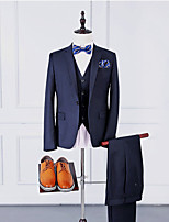Suits Tailored Fit Notch Single Breasted One-button Polyester Solid 3 Pieces