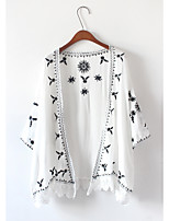 Women's Casual/Daily Simple Summer Cloak/Capes,Embroidered Halter ¾ Sleeve White / Black Polyester Medium