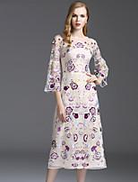 Viva Vena® Femme Col Arrondi Manches 3/4 Mollet Robes-VA88244