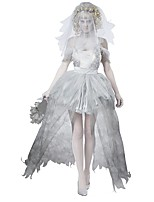 Cosplay Costumes Ghost / Zombie Movie Cosplay Gray Solid Dress / Headpiece / More Accessories Halloween / Christmas / New Year Female