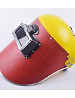 cabeza usando la pantalla protectora Dinghong cubierta de papel amarillo máscara protectora