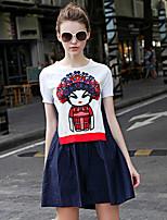 iloveknitting женщин происходит из Chinoiserie платье свитер, вышитые шею выше колена короткий рукав синие другие падают