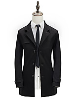 Men's Solid Casual / Work Trench coat,Polyester Long Sleeve-Black / Yellow