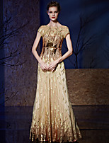 Formal Evening Dress A-line Bateau Floor-length Charmeuse / Sequined with Embroidery / Sequins