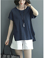 Women's Going out / Casual/Daily Simple Summer Set Pant,Solid Round Neck Short Sleeve Blue Cotton / Linen Medium