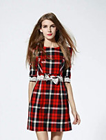 Boutique S Women's Casual/Daily Street chic A Line Dress,Plaid Round Neck Above Knee ½ Length Sleeve Cotton Fall