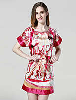 Boutique S Women's Casual/Daily Street chic Shift Dress,Print Round Neck Above Knee Short Sleeve Blue / Red Silk Summer