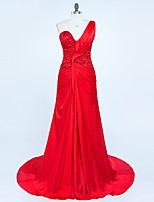 Formal Evening Dress Trumpet / Mermaid One Shoulder Sweep / Brush Train Chiffon / Satin with Beading / Pleats