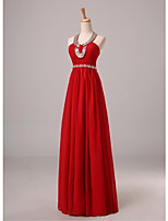 Formal Evening Dress A-line Halter Floor-length Chiffon with Beading / Sash / Ribbon / Side Draping