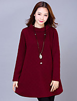 Women's Casual/Daily Street chic Sheath Dress,Solid Turtleneck Above Knee Long Sleeve  Cotton Spring / Fall