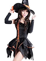 Cosplay Costumes / Party Costume Wizard/Witch Festival/Holiday Halloween Costumes Black Solid Dress / Hat Halloween Female Terylene