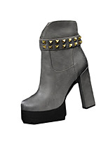 Women's Boots Winter Fashion Boots PU Casual Chunky Heel Rivet Black / Brown / Gray / Khaki Others