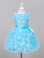 Girl's Casual/Daily Floral Dress,Cotton / Polyester Summer / Spring Blue