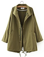 Women's Casual/Daily Street chic Trench Coat,Solid Shirt Collar Long Sleeve Fall / Winter  Wool / Polyester Thin