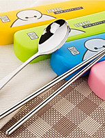 Drawing White Cartoon Series Stainless Steel Cutlery Sets Portable Chopsticks Spoon Boxed Sub-drawer