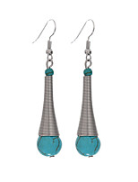 Vintage Bohemia Style Silver Plated Elasticity Long Turquoise Earrings Women Teardrop Charming Ethnic Boho Jewelry