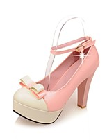 Women's Heels Summer/ Round Toe Patent Leather Office & Career / Casual Chunky Heel Bowknot Black / Pink / White / Beige