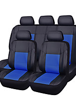 11Pcs PU Leather Black With Bule Auto Car-Covers Full Synthetic Set Seat Covers
