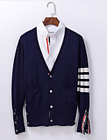 Women's Going out / Cute Regular Cardigan,Striped Blue / Black / Gray V Neck Long Sleeve Others Spring / Fall Medium