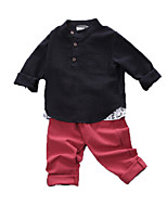 Boy's Casual/Daily Print Clothing Set,Cotton Fall Black / White