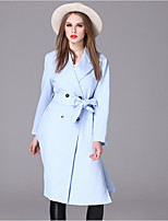 Women's Casual/Daily Simple Trench Coat,Solid Notch Lapel Long Sleeve Fall / Winter Blue Spandex Medium