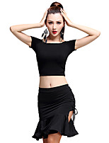 Latin Dance Outfits Women's Milk Fiber / Modal Side-Draped 2 Pieces Latin Dance Short Sleeve Natural Top / Skirt