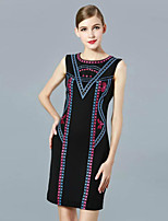 Boutique S Women's Casual/Daily Vintage Shift Dress,Embroidered Round Neck Above Knee Sleeveless Black Polyester Summer