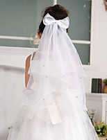 Flower Girl Wedding Veil One-tier Communion Veils Pencil Edge Tulle White White