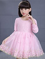 Girl's Casual/Daily Solid Dress,Cotton / Rayon Winter / Spring / Fall Pink / White